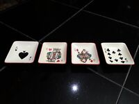 Vintage Carlton Ware Playing Cards Dishes. 4 Pcs. Collectibles. Poker, Gambling