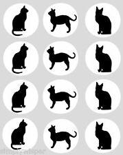 12 Gatto Nero Decorazioni per Cupcake Commestibili 40mm TORTA GATTINO DECORAZIONE GATTI GATTINI