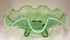 """JEFFERSON GLASS  Ruffled  Green OPALESCENT Leaf & Diamond 3 footed 8-3/8"""" Bowl"""