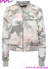 New Womens MA1 Bomber Jacket Ladies Military Coat Vintage Black Size 8 10 12 14