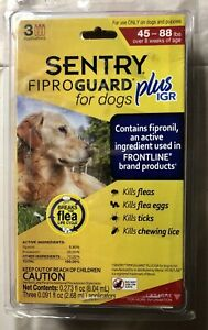 Sentry Fiproguard Plus Igr for Dogs 45-88 pounds 3 Pack - New