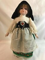 "15"" Vintage Porcelain German/Dutch Girl Doll Soft Body with Doll Stand"