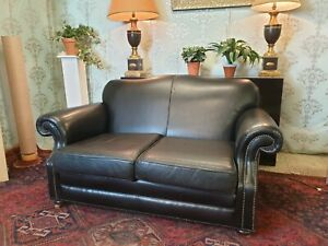 LAURA ASHLEY distressed black leather sofa
