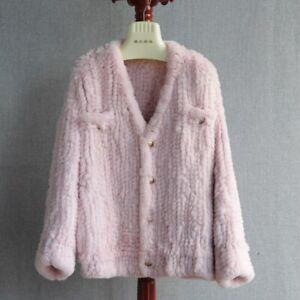 2021 Winter Thick Warm Knitted Fur Coats Women Fashion Jacket Soft Fluffy 33570
