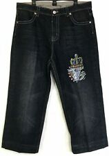 Ed Hardy Jeans Mens 38 X 27-29 Embroidered Crowned Bulldog 2007 Altered