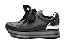 FRAU 55M2 sneakers donna pelle nera lacci suola zeppa bicolore 4dddc61d2c1