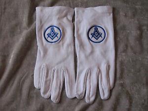 Freemason Square Compass Embroidered White Cotton Gloves Ceremonial Logo NEW!
