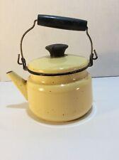 Vintage Tea Kettle Enamelware Teapot Yellow & Black Lid Farmhouse Wood Handle