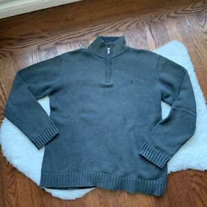 Boys Polo Ralph Lauren Gray Chunky Knit 3/4 Zip Sweater Size xLarge EUC