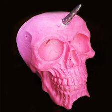 Cráneo de unicornio rosa y plata | Ornamento | Coleccionable | Raro | Inusual Regalo