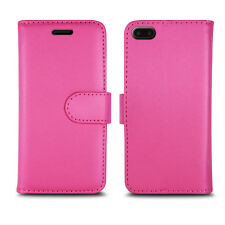 Plain Pink Leather Wallet Book Protect Case for HTC Desire 530 820 U11 & One X10 Apple iPhone 7 / 7g - 7 Series