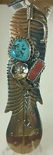Native American Style Handcrafted Sleeping Beauty Turquoise Coral Pendant