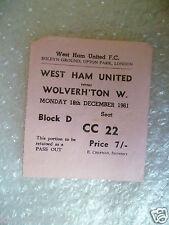 Tickets- 1961 WEST HAM UNITED v WOLVERHAMPTON WANDERERS,  - Hursts 1st goal