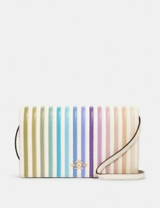 NWT Coach Foldover Crossbody Clutch With Ombre Rainbow Quilting 88694