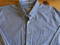 Peter Millar Mens Size XL Plaid Purple Long Sleeve Button Up Shirt Collar B19
