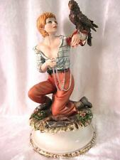 "Capodimonte Youth with Bird of Prey Maria augela firmato Back 11.5"" Gruppo di Figure"