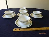 Corelle Crazy Daisy Pyrex Spring Blossom Mugs Saucers Open Handle Cups Lot of 10