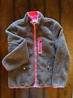 Old Navy Women's Brown Fleece Full Zip Lined Jacket Size Medium EUC Hand Pockets