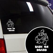 "Baby Bowser Super Mario Funny ""Baby on Board"" Car Window Vinyl Decal Sticker"