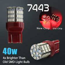 2X 7443 7440 40W High Power Red LED SMD Brake Tail Stop Light Bulbs