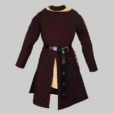 Thick Padded Brown Gambeson coat Aketon Medieval Costumes Dress Sca