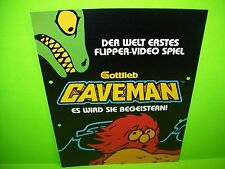 Gottlieb CAVEMAN German Text Original 1982 Flipper Game Pinball Machine Flyer