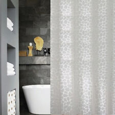 QUICKFIT CLEAR MODERN SHOWER CURTAIN + 12 DECORATIVE HOOKS | WHITE ANIMAL PRINT