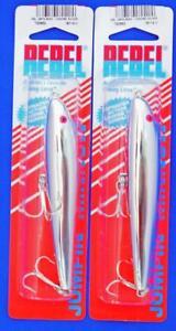 ( 2 ) REBEL JUMPIN MINNOW TOPWATER LURES CHROME SILVER