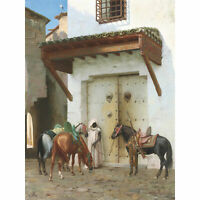 Gerome Horses Held By Slave Painting Large Canvas Art Print