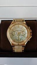 NIB MICHAEL KORS ROCK TOP HORN GOLD BEIGE TAN RESIN CHRONOGRAPH BRACELET WATCH