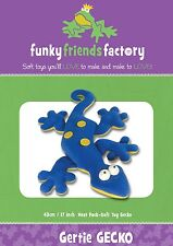 GERTIE GECKO SOFT TOY SEWING PATTERN, 17 Inch From Funky Friends Factory NEW