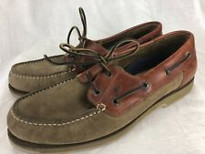 ECCO Sea-Port Boat Shoe Loafer 2-Eye EU 47 US 13 Men Leather Nubuck Brown 2-Tone