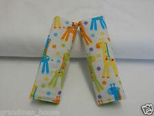 Baby Seat Belt Strap Covers Car Highchair Stroller Pram - Bright Giraffes