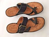"Born Shoes Sandals 7/ 38 M  Women's Brown Leather Strappy 3"" Heel Slides EUC"