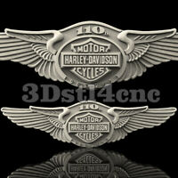 3D Model STL CNC Router Artcam Aspire New 110Th Harley Biker Wings Cut3D Vcarve