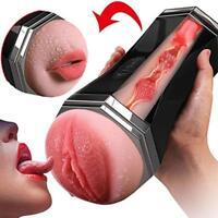 Male Masturbator Cup 3D Realistic Vagina Mouth Smart Sex Vibrating Love Toy