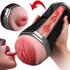 Male Masturbator Cup 3D Realistic Vagina Mouth Smart Sex Vibrating Love Toy