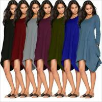 Womens O-Neck Long Sleeve A-Line Pockets Swing Dress Casual Long Tunic Top Plus