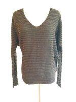Free People Sweater Knit Top Brown & Black w/Dolman Sleeve Size XS