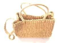 Vintage Straw Bag Purse Handmade in Philippines Natural Tan Crossbody Beach