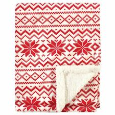 Hudson Baby Plush Blanket with Sherpa Back, Red Fair Isle, One Size