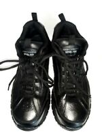 SKECHERS SLIP RESISTANT STEEL TOE Black Leather WORK SHOES SIZE US 12
