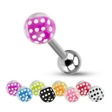 """DICE & CLEAR BUBBLE BALL BARBELL TONGUE RING 14G 5/8"""" PIERCING JEWELRY C264"""