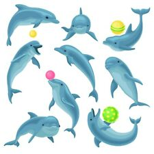 Dolphin Bedroom bathroom wall toy box vinyl stickers  Nursery Childrens Window