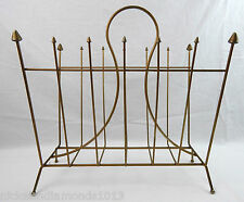 Mid Century Metal Wire Magazine Rack Gothic Punk Pointed Gold Tone Ball Feet