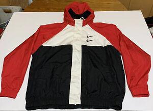 Nike Double Swoosh Mens Hooded Windbreaker Jacket Size XL Red White Black