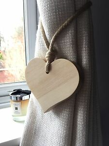 Pair Of Handmade Natural Small Wooden Heart Curtain Tie Backs With Jute Rope Tie