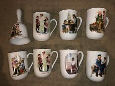 Lot of 7 Norman Rockwell Collector's Mugs and 1 Bell