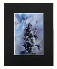 Angel & Firefighter 8x10 matted Art Print Printed Poster Decor picture Gift