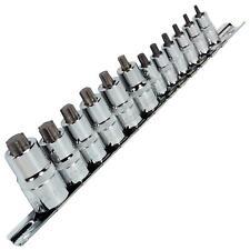 """Sealey 12pc 1/4"""" 3/8"""" 1/2"""" Drive Trx-Star Socket Bit Set Stubby T8-T60 S2 Steel"""